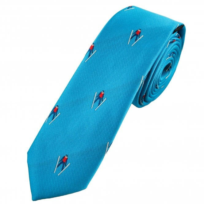 Men's blue tie with ski print