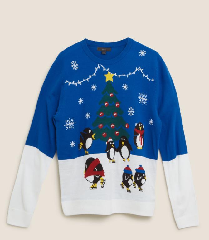 Penguins ice skating christmas jumper