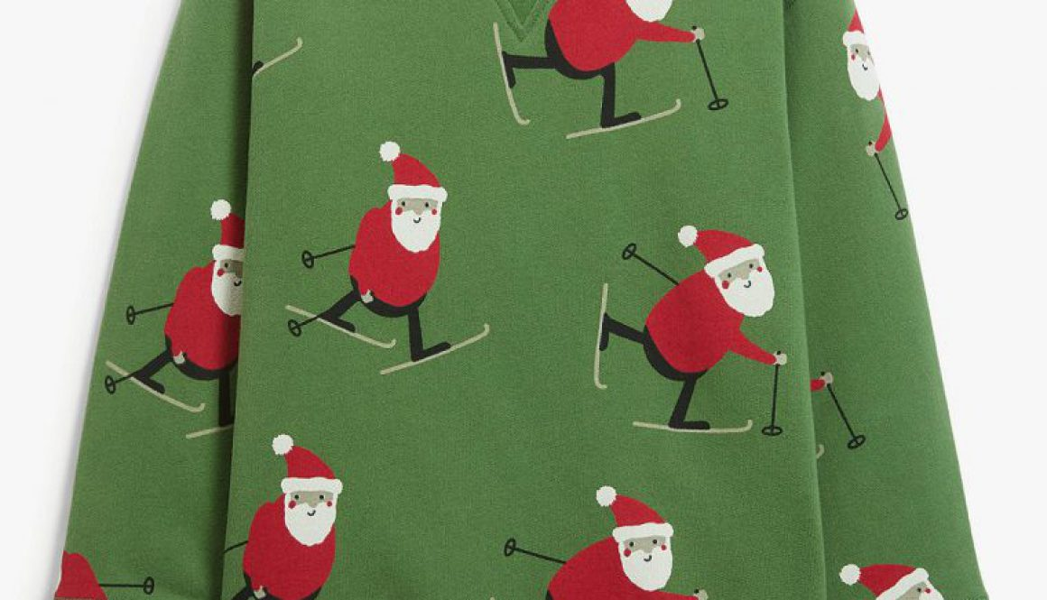 Kids Santa Skiing Christmas Jumper