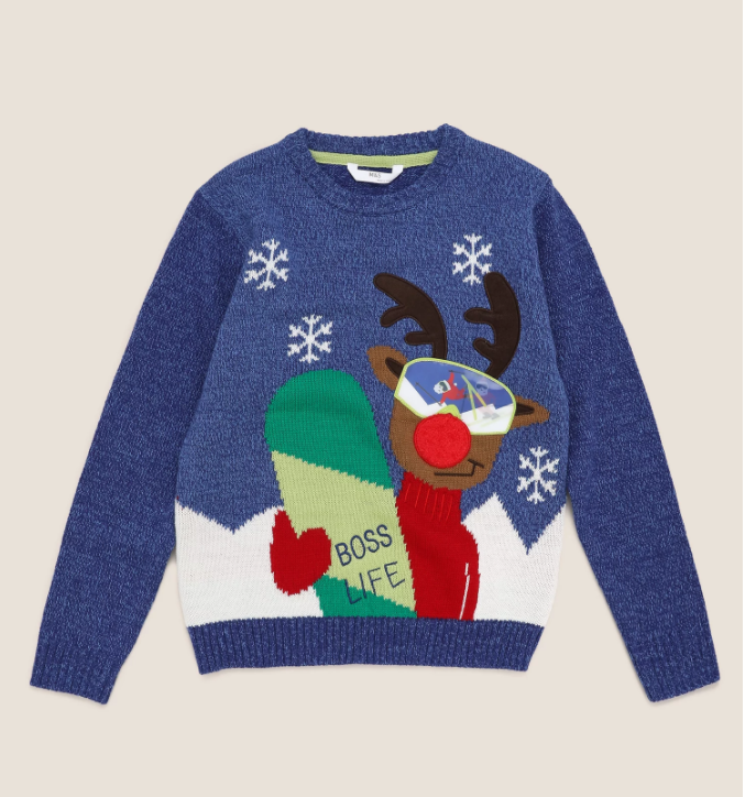 Christmas Jumper with a reindeer and snowboard