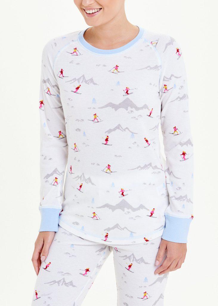 Womens ski print pajamas