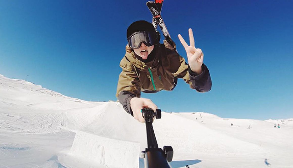 Andri Ragettli on a ski jump with a GoPro