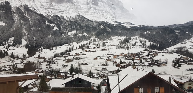Grindelwald ski village covered in snow