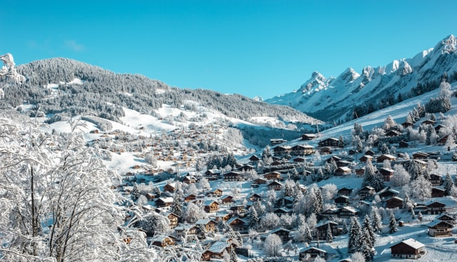 The village of La Clusaz covered in snow
