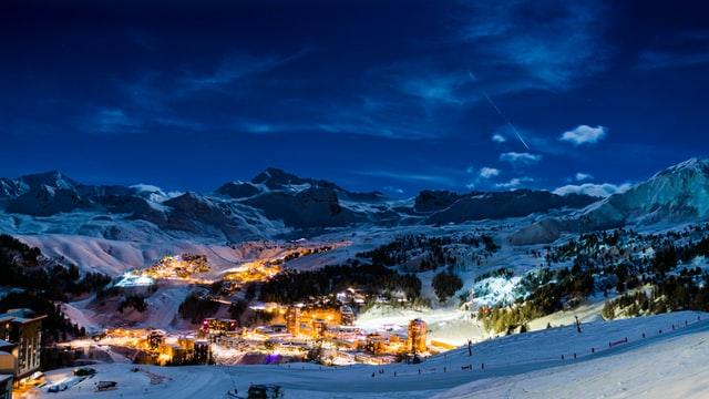 La Plagne villages lit up at night