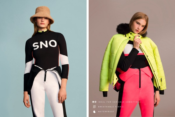 2 models wearing Topshop's range of ski wear