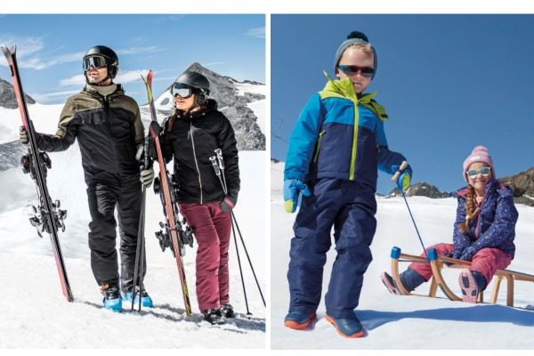 A family on the ski slopes wearing clothes from Aldi