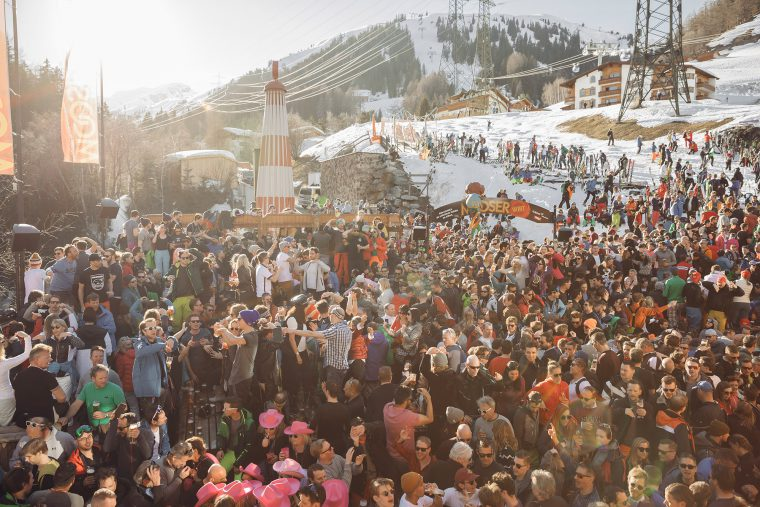 Large group of skiers partying on the terrace at Mooserwirt bar in St Anton.