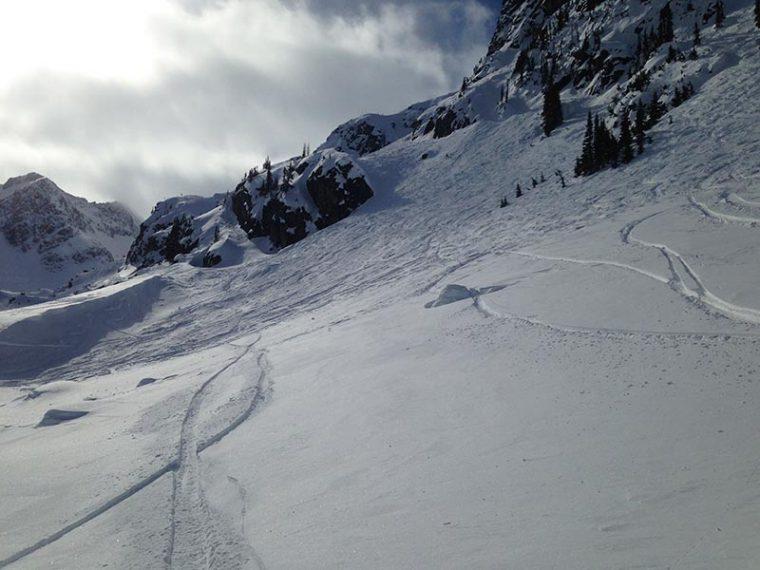 Steep snowy piste in Whistler