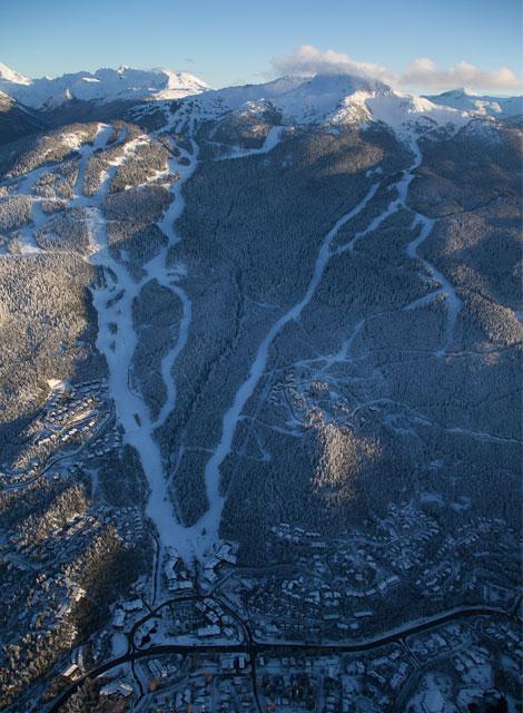 Birds eye view of a long ski run in Whistler Blackcomb