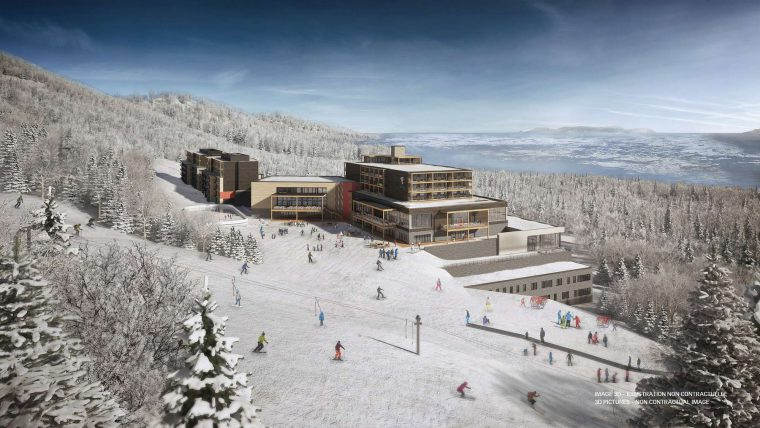 An artists impression of Club Med Quebec - a new ski hotel sitting on top of a mountain